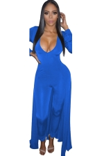 Women Sexy Deep V Neck Long Sleeve Skinny Jumpsuit Dress Blue
