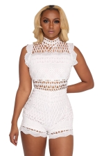 Women Sexy Lace Patchwork Hollow Out Romper White