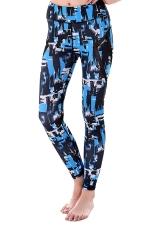 Womem Skinny Sheer Patchwork Patterns Yoga Sports Leggings Blue