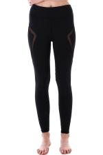 Womem Skinny Sheer Patchwork Plain Yoga Sports Leggings Black