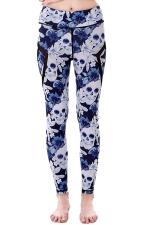 Womem Skinny Sheer Patchwork Patterns Yoga Sports Leggings Light Blue