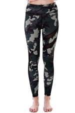 Women Mesh Patchwork Camouflage Yoga Sports Wear Leggings Army Green
