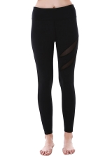 Women Mesh Patchwork Plain Yoga Sports Wear Leggings Black