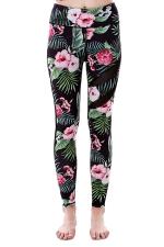 Women Mesh Patchwork Floral Printed Yoga Sports Wear Leggings Dark Green