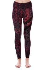 Women Mesh Patchwork Snakeskin Print Yoga Sports Wear Leggings Dark Red