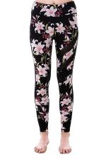 Women Mesh Patchwork Floral Printed Yoga Sports Wear Leggings Pink