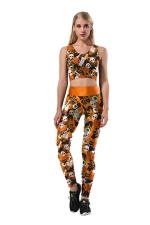 Women Skull Printed High Waist Halloween Sports Wear Suit Orange