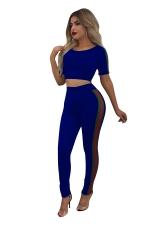 Women Sexy Side Stripe Crop Top Skinny Pants Sports Suit Sapphire Blue
