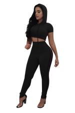 Women Sexy Side Stripe Hooded Crop Top Sports Suit Black