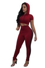 Women Sexy Side Stripe Hooded Crop Top Sports Suit Ruby