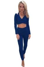 Women Sexy V Neck Cold Shoulder Crop Top Sports Wear Suit Blue