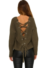 Women Sexy V Neck Cut-Out Back Lace Up Plain Sweater Army Green