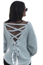 Women Sexy V Neck Cut-Out Back Lace Up Plain Sweater Light Gray