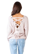 Women Sexy V Neck Cut-Out Back Lace Up Plain Sweater Pink