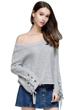 Women Crew Neck Lace Up Flare Sleeve Pullover Sweater Gray