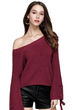 Women Crew Neck Lace Up Flare Sleeve Pullover Sweater Rose Red