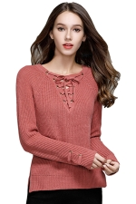 Women Sexy V Neck Lace Up Long Sleeve Pullover Sweater Watermelon Red