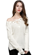 Women Sexy V Neck Lace Up Long Sleeve Pullover Sweater White
