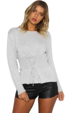 Women Casual Lace Up Long Sleeve Plain Loose Sweaters Light Gray