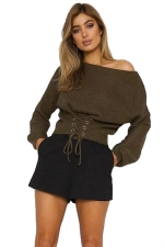 Women Sexy Off Shoulder Long Sleeve Lace Up Plain Sweater Army Green