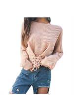 Women Sexy Off Shoulder Long Sleeve Lace Up Plain Sweater Apricot