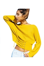 Women Sexy Off Shoulder Long Sleeve Lace Up Plain Sweater Yellow