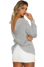 Women Sexy V Neck Twist Detail Long Sleeve Sweater Gray