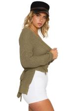 Women Sexy V Neck Cross Bandage Long Sleeve Plain Sweater Army Green