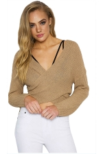 Women Sexy V Neck Cross Bandage Long Sleeve Plain Sweater Pink