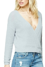 Women Sexy Plain Deep V Neck V Back Sweater Blue