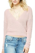 Women Sexy Plain Deep V Neck V Back Sweater Pink