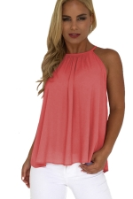 Women Sexy Halter Spaghetti Straps Ruffle Cut Out Sheer Tank Top Pink