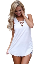 Women Sexy Cross V-Neck Lace-Up Sleeveless Tank Top White
