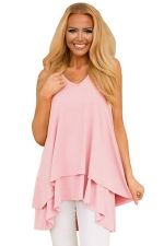 Women V-Neck High Low Ruffled Layer Asymmetric Hem Tank Top Pink