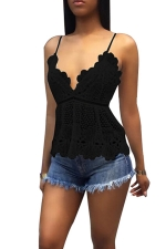 Women Sexy Adjustable Strap Lace Hollow Out Camisole Top Black