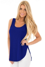 Women Side Slits Tank Top With Pocket Blue
