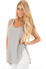 Women Side Slits Tank Top With Pocket Gray