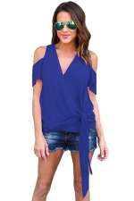 Women Casual Plain Cold Shoulder V Neck Bandage T-Shirt Blue