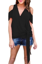 Women Casual Plain Cold Shoulder V Neck Bandage T-Shirt Black
