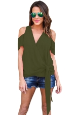 Women Casual Plain Cold Shoulder V Neck Bandage T-Shirt Green