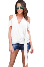 Women Casual Plain Cold Shoulder V Neck Bandage T-Shirt White