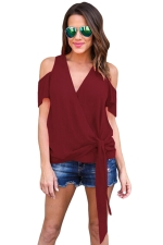 Women Casual Plain Cold Shoulder V Neck Bandage T-Shirt Ruby