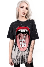 Women Casual Big Mouth 3D Printed Crew Neck Short Sleeve T-Shirt Black