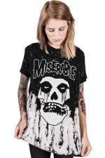 Women Casual Skeleton Printed Crew Neck T-Shirt Black And White