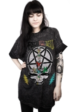 Women Halloween Stay Weird Skull Printed Short Sleeve T-Shirt Black
