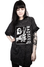 Women Casual The Grim Reaper Printed Crew Neck T-Shirt Black