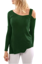 Green One Shoulder Long Sleeve Top With Slit