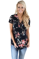 Women Deep V Lace Up Tunic Pleated Floral Printed T-Shirt Black