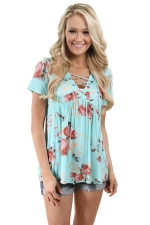 Women Deep V Lace Up Tunic Pleated Floral Printed T-Shirt Light Blue