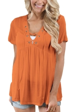 Women Deep V Lace Up Tunic Pleated Plain T-Shirt Light Orange
